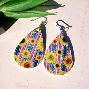 Sunflower faux leather earrings!